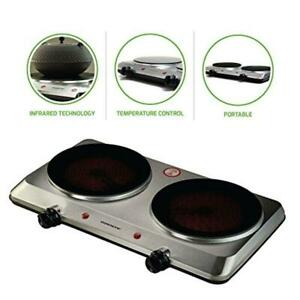 Electric 18 in Hot Plate Double Burner Infrared Cooktop Portable Travel Stove