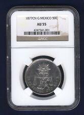 MEXICO CULIACAN 1877-CN 50 CENTAVOS COIN CERTIFIED ALMOST UNCIRCULATED NGC AU-55