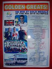Team GB Rio 2016 Gold Medals - souvenir print