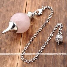 Natural Rose Quartz Pendulum Divination Dowsing Dangle Bead Link Chain Pendant