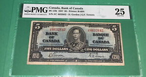 PMG Canada, Bank of Canada $5 Banknote 1937 p60b VF25
