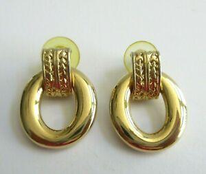 Gold-Tone Oval Pierced Earrings slight dangle unmarked