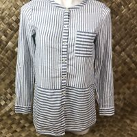 J. Jill Womens XS Blue White Stripe Tab Sleeves Long Short Peplum Blouse Top