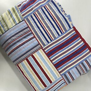 """Pottery Barn Kids Twin Madras Quilt Stripes Patchwork Blue Multicolor 70x88"""""""