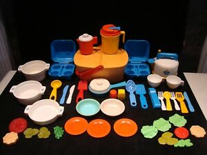 All Vintage Fisher Price Play Food Fun with Food Dishes Pots Mixer 44 Pc Lot D