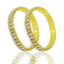 Crystal Rhinestone Stretch Bracelet Bangle Wedding Bridal Wristband Women 2 rows