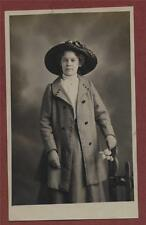 Lady straw hat coat flowers  vintage photograph  postcard    qc.286