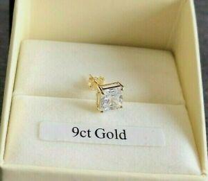 9ct GOLD MEN'S SINGLE 6mm SQUARE 1.24ct DIAMOND-UNIQUE STUD EARRING BOXED