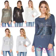 Donna Con paillettes Maglia Barca Collo Tunica Maglione T-Shirt Camicia Taglia