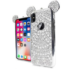 For iPhone X /XS Silver Rhinestone Bling Teddy Ears Pearl Soft Rubber Case Cover