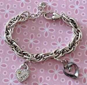 """Brighton Joy/Laugh & Callie 2-Charms PLUS Bracelet Silver Adjustable 8.5"""""""