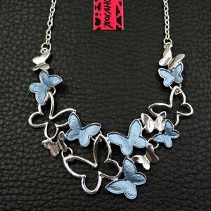 Gifts Betsey Johnson Blue Enamel Cute Butterfly Fashion Pendant Choker Necklace