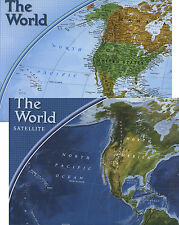 "Natgeo World Wall Map Political & Satellite 32""x20"" (when unfolded) Double-sided"