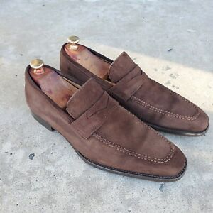 Magnanni Brown Suede Penny Loafers sz 10 D US MENS