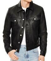 Mens Slim fit Black Trucker Genuine Lambskin Leather Jacket