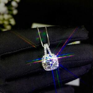 Silver 1CT Moissanite Diamond Necklace Pendant Wedding Engagement Women Gift
