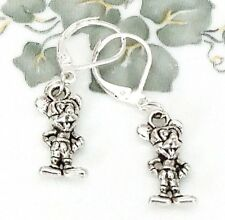 Mickey Mouse 925 Sterling Silver 2-sided Lever back dangle Earrings handmade