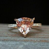 14K Rose Gold Over 2.55 CT Trillion Cut Peach Morganite Wedding Engagement Ring