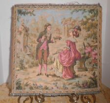 ANTIQUE FRENCH AUBUSSON HUSBANDRY AGRARIAN PASTORAL SCENE TAPESTRY SQUARE