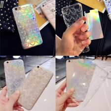 New Beautiful Holographic  3D Love Heart Soft silicone iPhone Case Back Cover