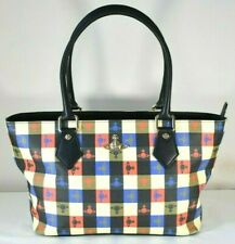 VIVIENNE WESTWOOD Checked Orb Print Vegan Leather Tote Bag Handbag Shopper