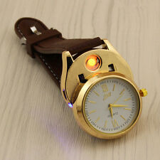 Armbanduhr mit USB Feuerzeug flameless windschutz Blaue Led Anzeige braun