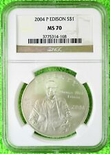 2004-P Thomas Alva Edison Light Bulb Silver UNC Commemorative Dollar MS70 NGC