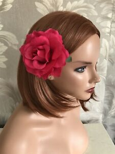 Large Cerise Hot Pink Fuchsia Rose Hair Clip Rockabilly 1940s 1950s Floral Comb