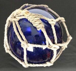 Glass Fish Float Rope Net Buoy Deep Cobalt Blue 10 Inch!!!