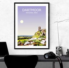 More details for dartmoor art print, national park landscape, wild hiking walking gift, brent tor