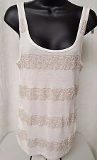 Old Navy NWT Woman's Ivory w/ Sequin DesignTank Top Shirt Size L