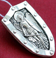 RUSSIAN ORTHODOX PENDANT NECKLACE WARRIOR SHIELD ST ARCHANGEL MICHAEL SILVER 925