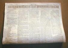 Rare original WAR of 1812 newspaper dated between 1812 & 1815 over 200 years old