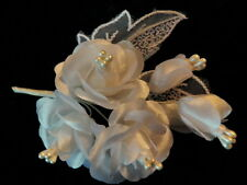 Vintage Millinery Flower White Rose Pearl Boutonniere for Hat Wedding Hair KM4 D