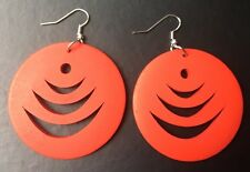 Boho Hippy Gypsy 70s Style Large Red Disc Patterned Fashion Earrings