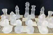 """FELT BOTTOM APPROX 1/"""" TALL PAWN LOT OF 4 FROSTED GLASS CHESS PIECES"""