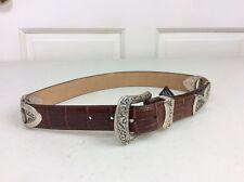 BRIGHTON Croc Print Leather Belt Silver Detail Women's Small