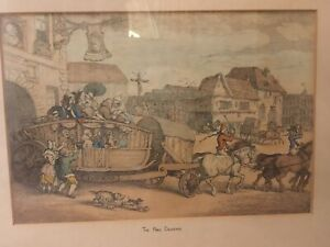 """Thomas Rowlandson """"The Paris Diligence"""" framed line drawing - hand coloured"""