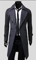 New Mens Slim Stylish Trench Coat Winter Long Jacket Double Breasted Overcoat