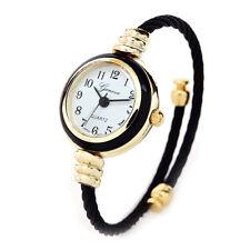 Black Gold Cable Band Geneva Women's Petite Bangle Cuff Watch