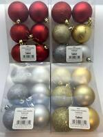 Christmas Tree Baubles Silver Red Gold Glitter and Matte 4cm or 6cm Choose Size
