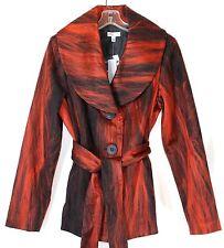 NWT Linea Domani Women's 8 Rust Black Felt Look Lightweight Button Front Coat