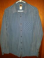 The North Face Mens Large Shirt Plaid Long Sleeve Button Up Outdoor Blue L