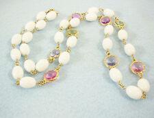 WHITE Oval Beads Rivoli Cut PASTEL Rhinestones Necklace Strand Pink Blue Vintage