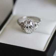 14K White Gold Certified 2.40Ct Oval Cut Diamond Engagement Beautiful Ring