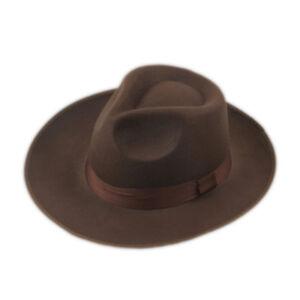 Fashion Unisex Hard Felt Panama Hat Fedora Trilby Hats Gangster Caps Wide Brim