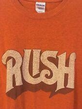 Rush Band Original Logo EXTRA LARGE Licensed Adult T-Shirt - Unique Orange