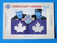 2004 UD WORLD CUP HOCKEY SCOTT NIEDERMAYER & ED JOVANOVSKI GAME USED HOCKEY CARD
