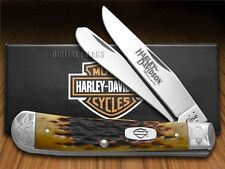 CASE XX Harley-Davidson Motorcycles Jigged Antique Bone Trapper Pocket Knife