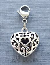 Dangle Heart Clip On Charm w/Lobster Clasp Fits Link Chain, floating locket C220